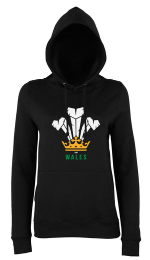 Modern Welsh Feathers - Ladies Hoodie (Black)