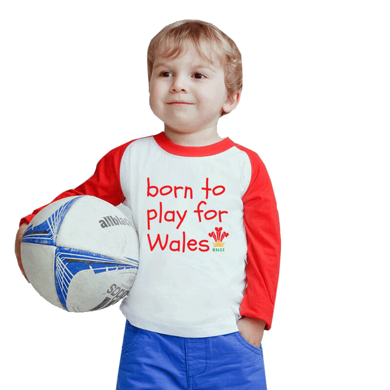 Baby Baseball Top - Born to Play for Wales