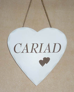 Cariad - Welsh Heart Hanging Sign (Love)
