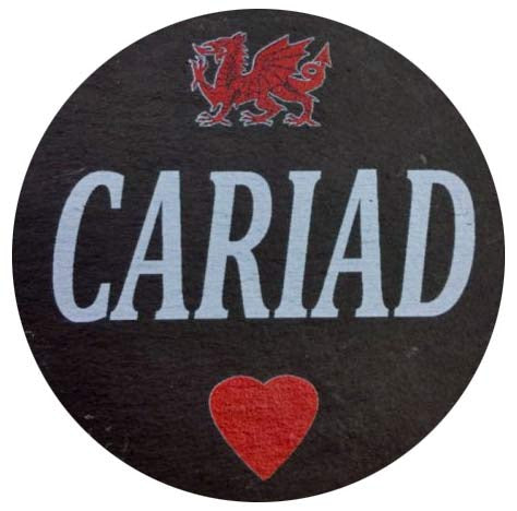 Cariad/ Love - Welsh Slate Coaster