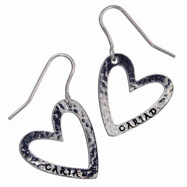 Cariad heart earrings - Pewter