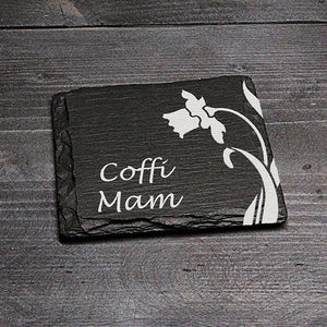 SQUARE WELSH SLATE COASTER - 'COFFI MAM'
