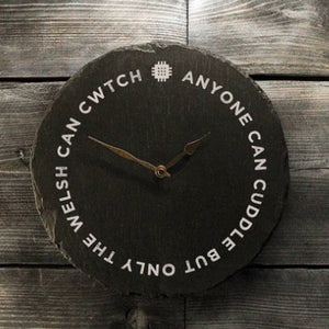 Welsh Slate Clock - Cuddle and Cwtch