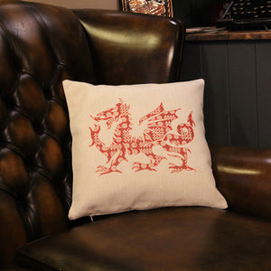 Welsh Dragon Cushion - Linen Effect
