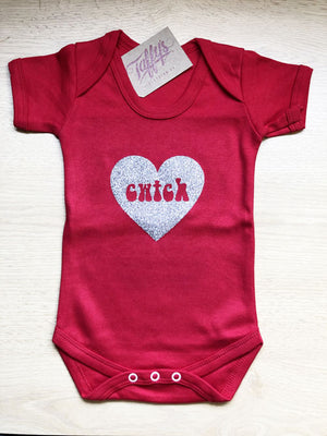 Cwtch Glitter Heart - Welsh Baby Grow (Solid)