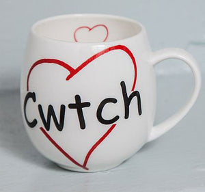 Cwtch and Heart - Fine Bone China Welsh Mug (Hand Warmer)
