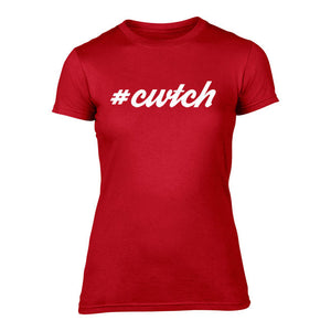 #Cwtch - Women's Welsh T-Shirt (RED)