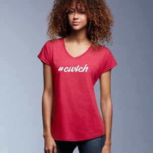 #Cwtch - Women's V-Neck Welsh T-Shirt (Heather Red)