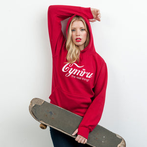 Cymru - It's the real thing! - Ladies Welsh Hoodie (Red)