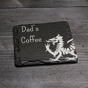 SQUARE WELSH SLATE COASTER - 'DAD'S COFFEE'