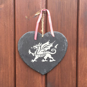 Welsh Dragon - Slate Hanging Plaque (Heart)