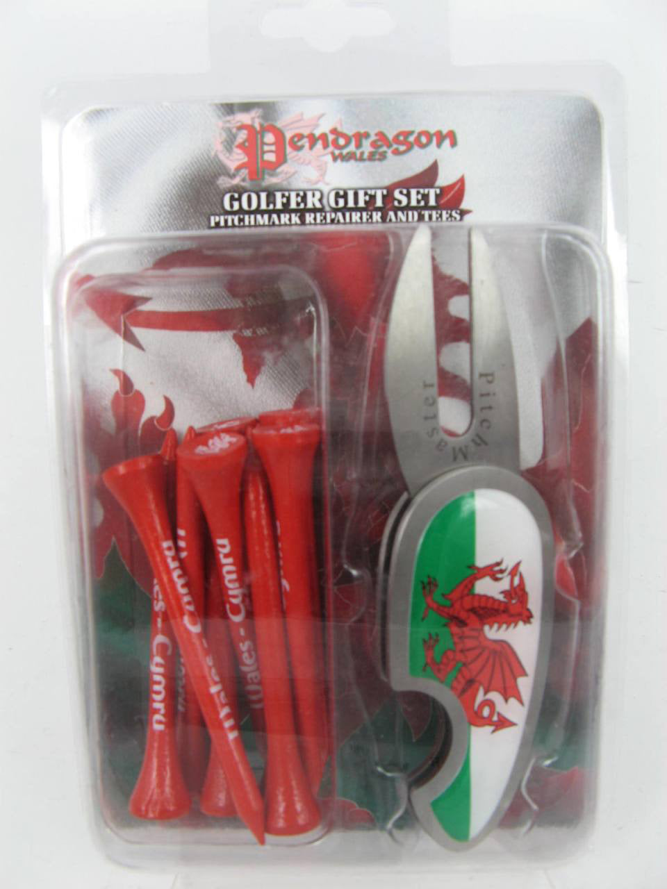 Welsh Pitchmark Repairer & Wales Golf Tees Set