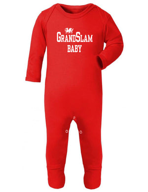 Grand Slam Baby - Welsh Baby Sleep Suit RED