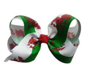 Hareena Childrens Hair Bow - Welsh Flag
