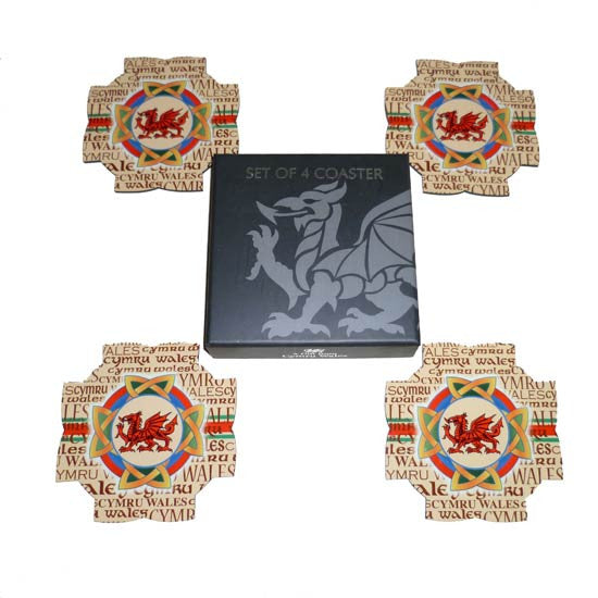 Welsh Heraldic Coaster set and Box