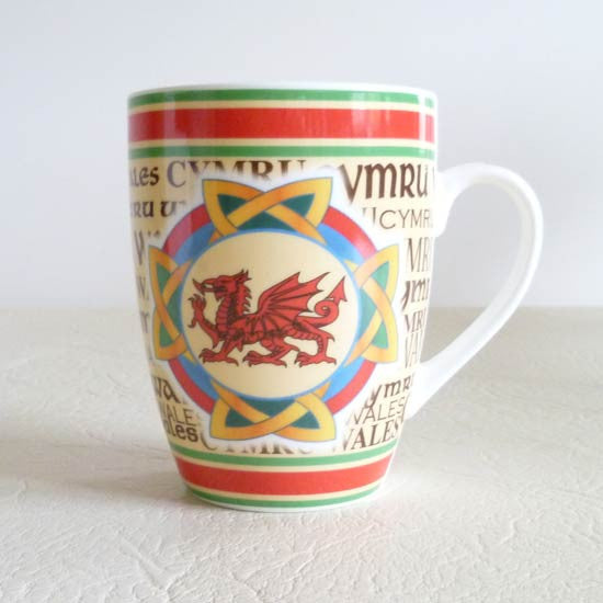 Heraldic Welsh china mug