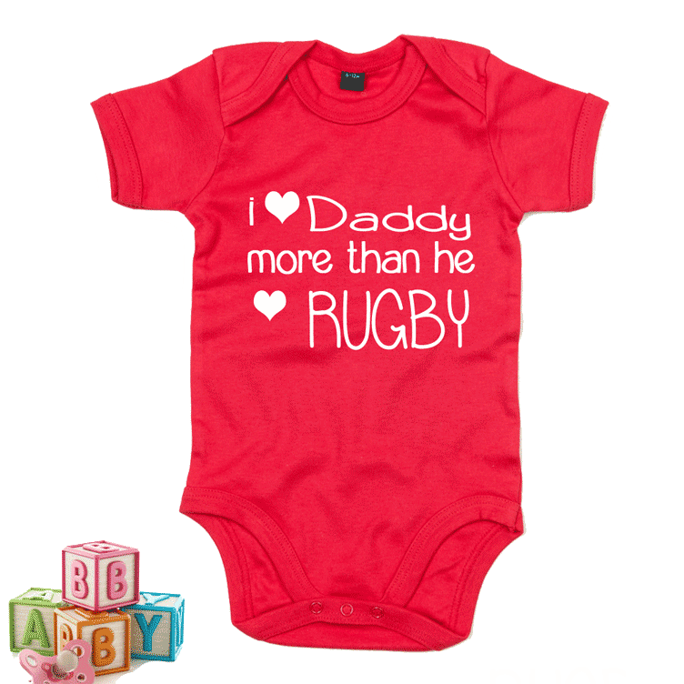 I love Daddy More than He Loves Rugby - Baby Grow RED