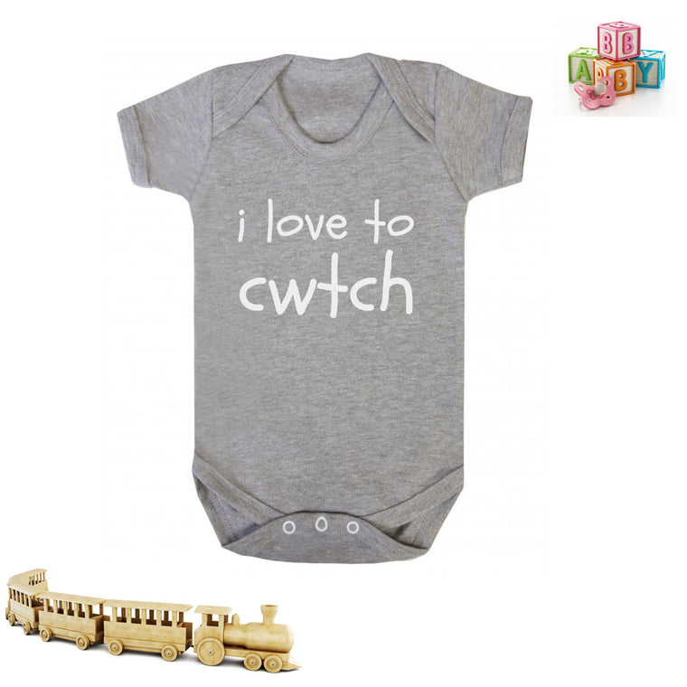 I Love to Cwtch - Welsh Baby Grow (Grey)