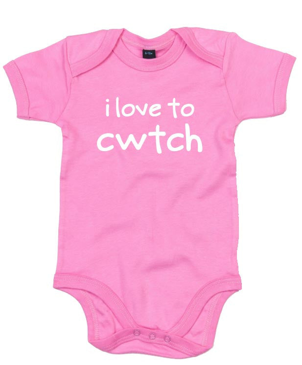 I Love to Cwtch - Welsh Baby Grow (Pink)