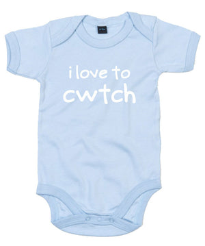 I Love to Cwtch - Welsh Baby Grow (Powder Blue)