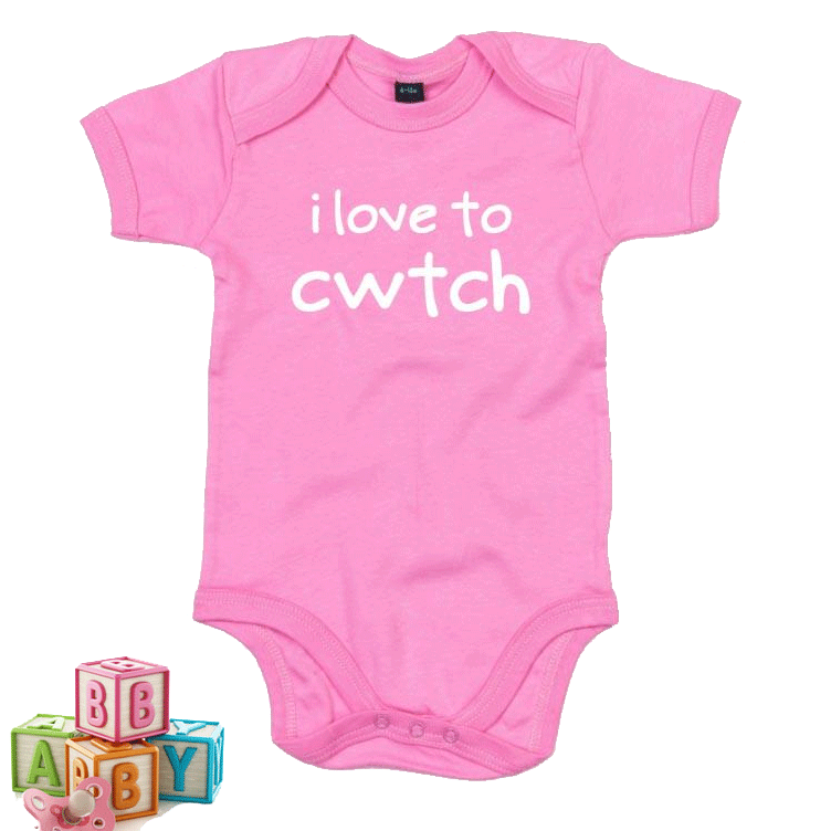 I Love to Cwtch - Welsh Baby Grow PINK