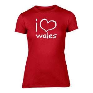 I Love Wales - Women's Welsh T-Shirt (Red)