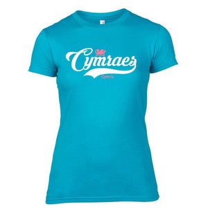 Womens Vintage Cymraes Welsh T-Shirt - Turquoise