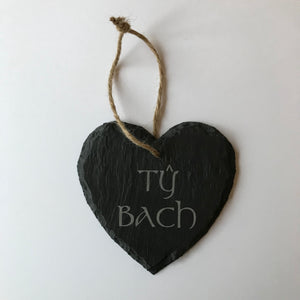 Welsh Slate - Heart Hanging Plaque (Ty Bach)