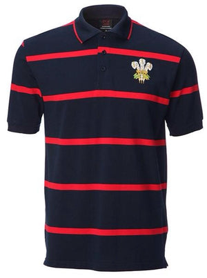 Wales Navy - Red Horizontal Stripe Polo Shirt