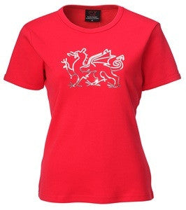Ladies Welsh Diamanté Dragon T-Shirt