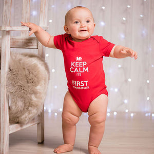 Keep Calm Named Christmas Baby Grow