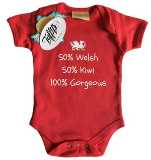 50% Welsh 50% ? 100% Gorgeous Baby Grow (Example Kiwi)