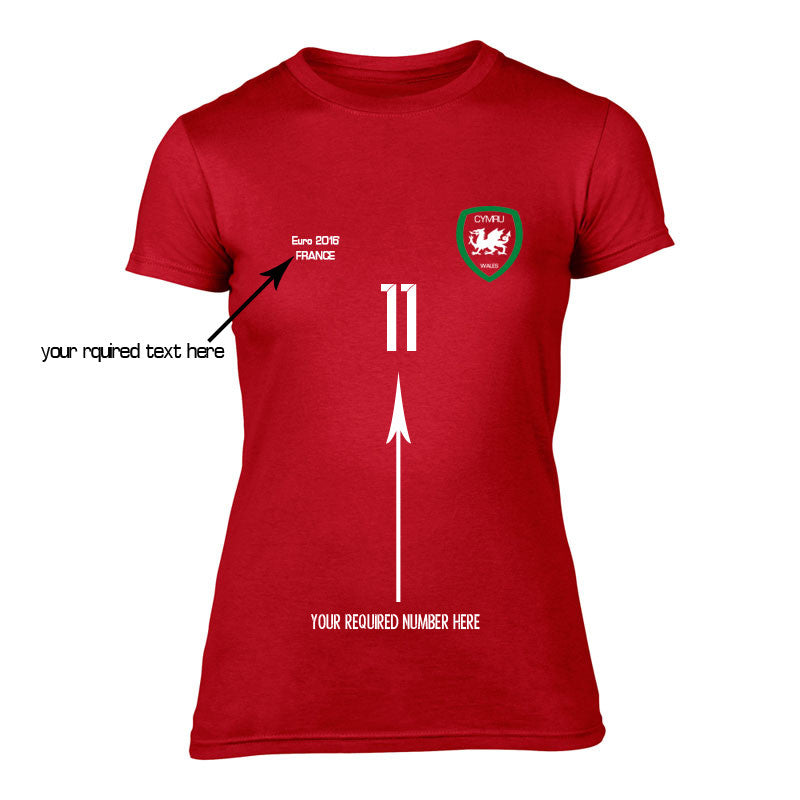 Womens - Wales Customised Football T-Shirt