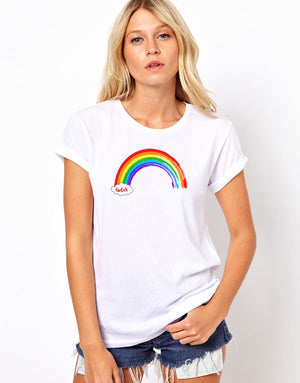 Cwtch Rainbow Ladies T-Shirt WHITE