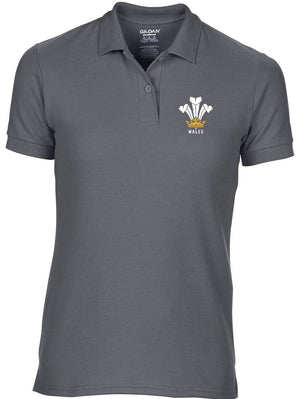 Modern Welsh Feathers - Women's Fashion Polo Shirt Charcoal