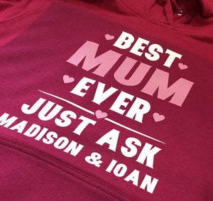 Best Mum - Personalised Ladies Hoodie