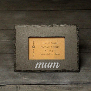 Mum Welsh Slate - Photo Frame - Single