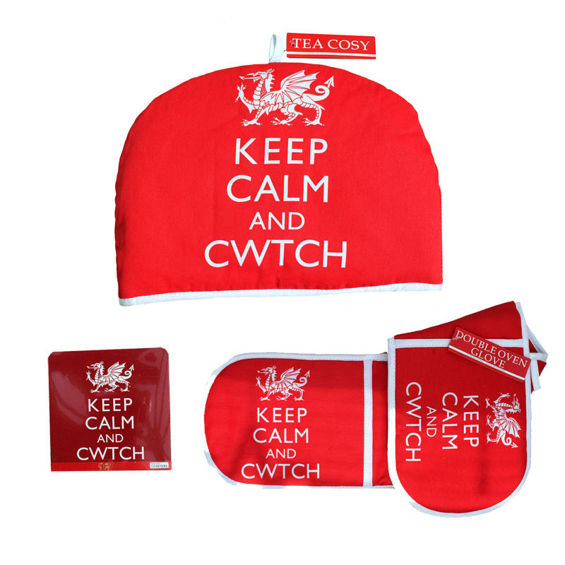 Keep Calm and Cwtch Tea cosy Oven gloves and Coaster set