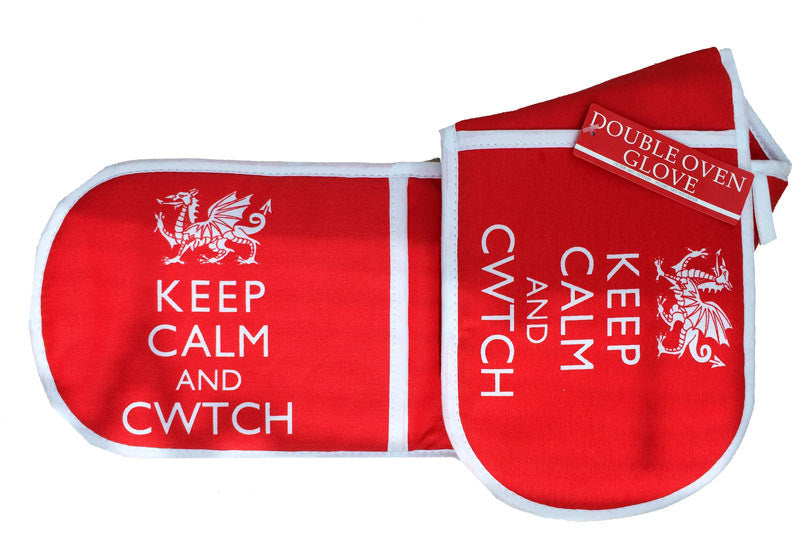 Welsh Oven Gloves - Keep Calm & Cwtch