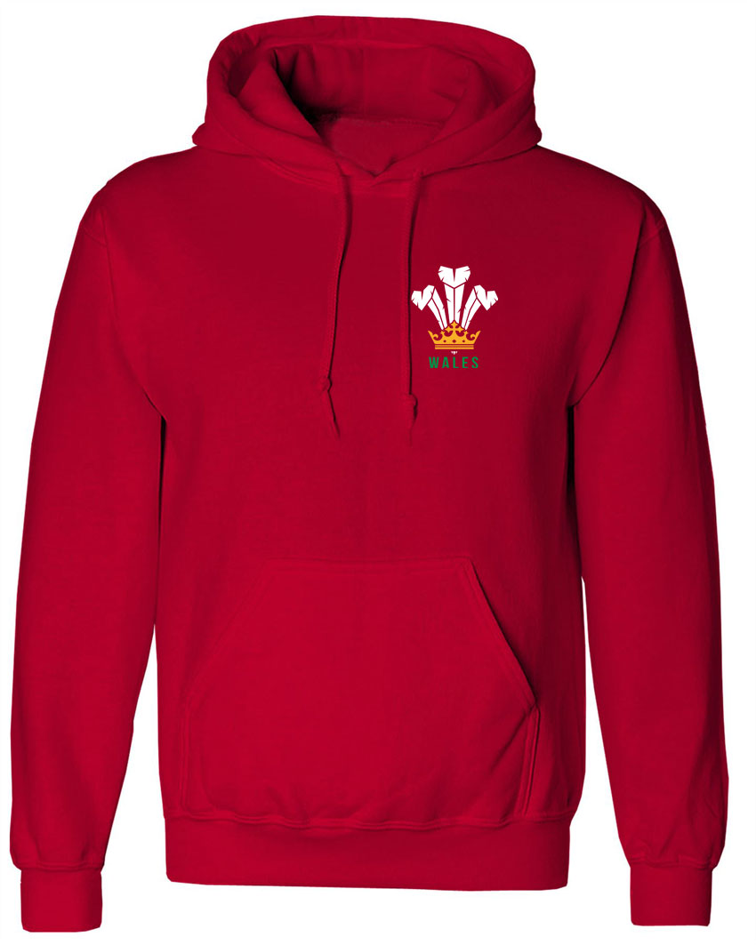 Traditional Wales Feathers and Flag Adult Hoodie Hoody Rugby Football Cym S-XXXL