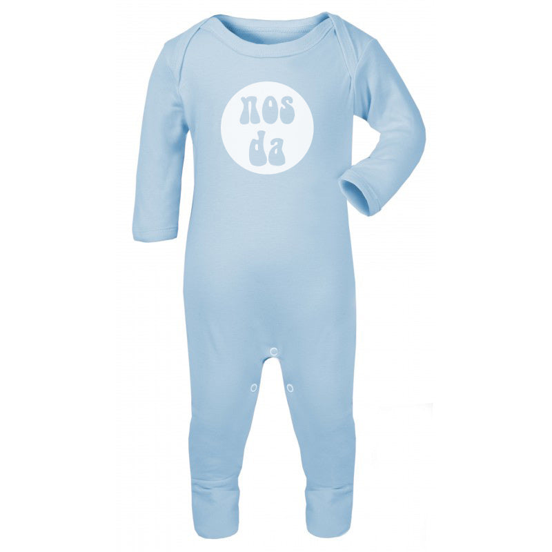 Nos da - Welsh Baby Romper Suit BLUE