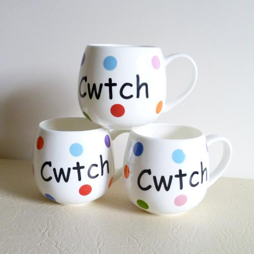 Spotted Cwtch and Heart - Welsh Mug