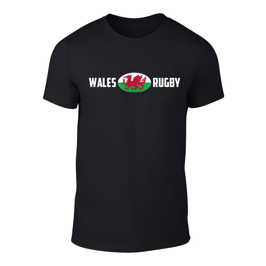 Welsh Rugby Ball Flag T-Shirt BLACK