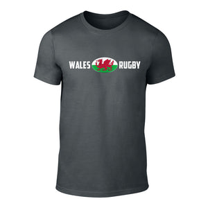 Welsh Rugby Ball Flag T-Shirt CHARCOAL