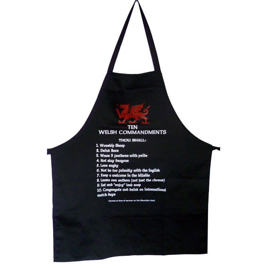 Welsh 10 Commandments - Kitchen Apron (Black)