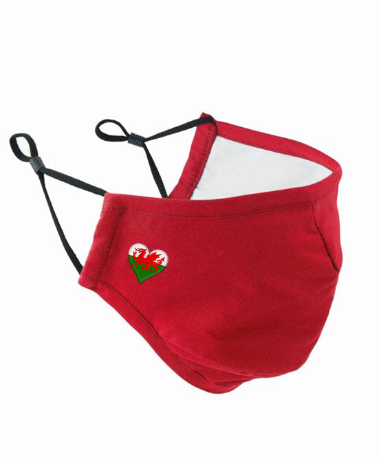 Welsh Heart - Womens Face Mask Cover (3 Ply Premier) RED