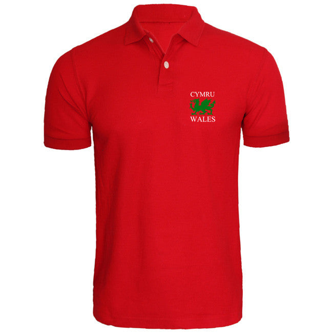 Welsh Dragon Embroidered Polo Shirt