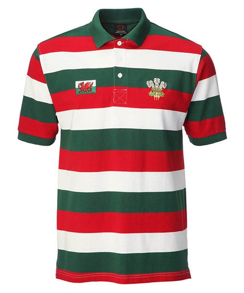 Rugby, Wales, Feathers, Red, White, Embroidered MENS WELSH PANEL POLO SHIRT