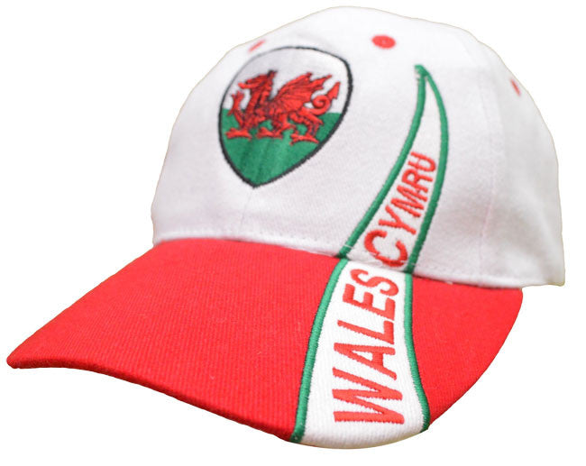 Welsh Dragon White Swoosh Cap