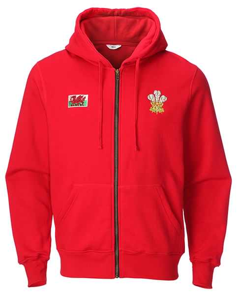 Traditional Welsh Feathers Full Zip Shak Hoodie Jacket RED